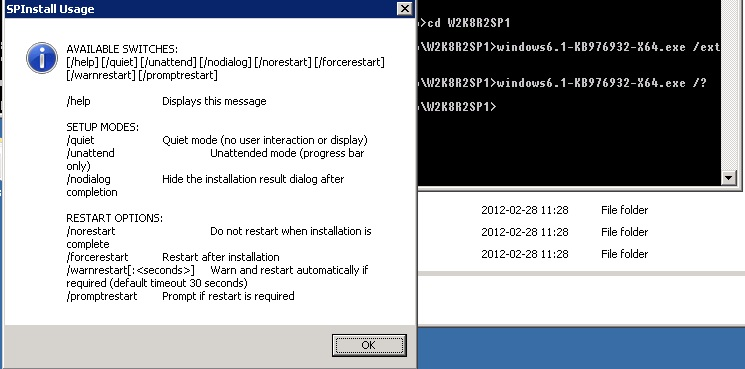 Dialog window with help for Windows 2008 R2 Service Pack 1